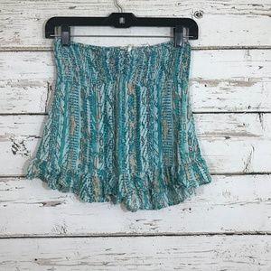 Kirra Blue Patterned Ruffle Strapless Top